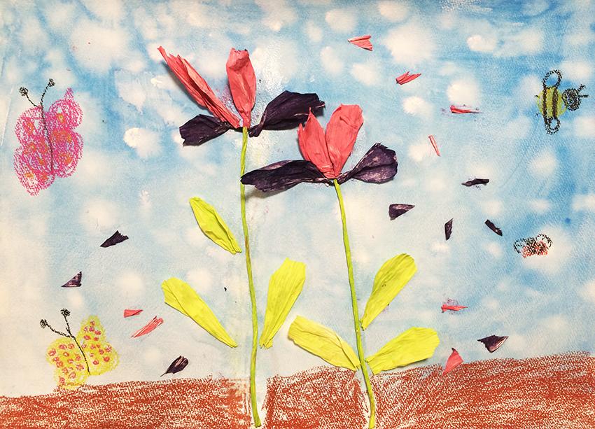 紙紐を染めてつくるお花の絵画