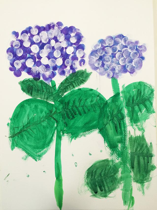 「紫陽花」水彩デッサン