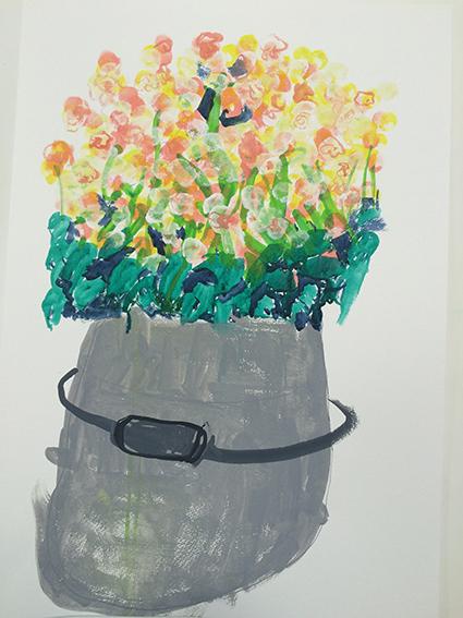 「ベコニア」水彩デッサン