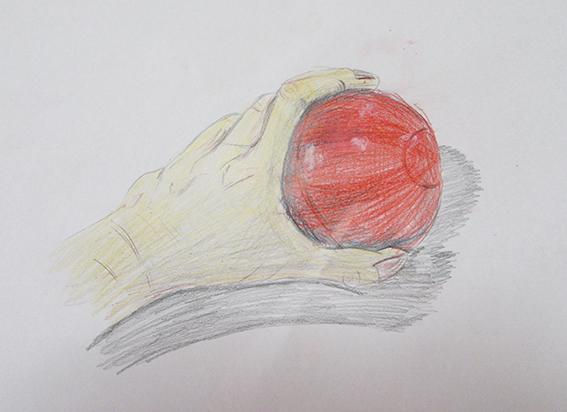 「ボールを持つ手」色鉛筆デッサン