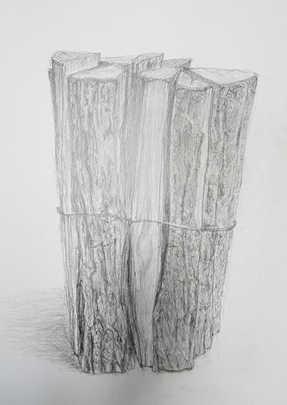 「薪」鉛筆デッサン