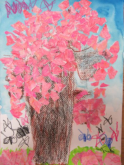 「桜」ちぎり絵