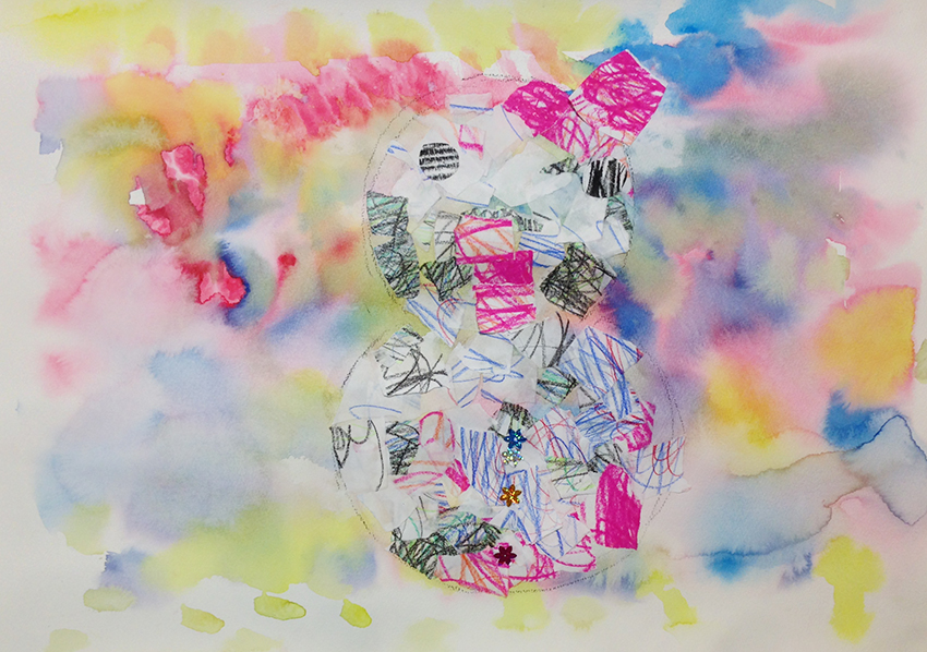 雪だるまのコラージュ絵画