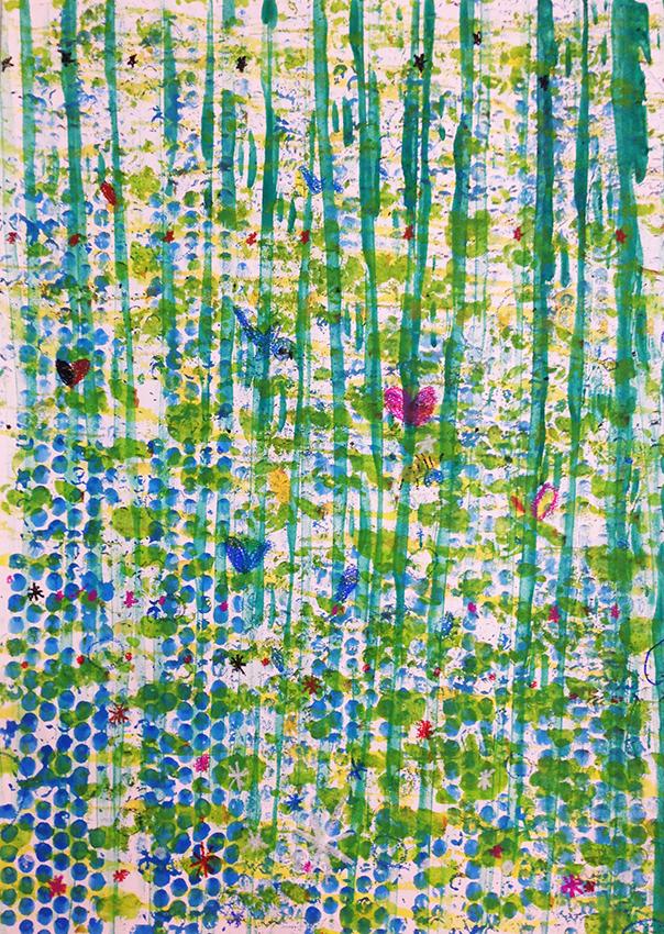 「湖のある森」コロコローラー絵画