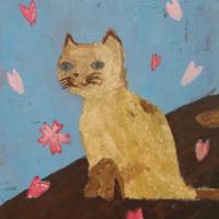 タイトル「お花見する猫」油彩