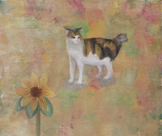 タイトル「花と猫」油彩